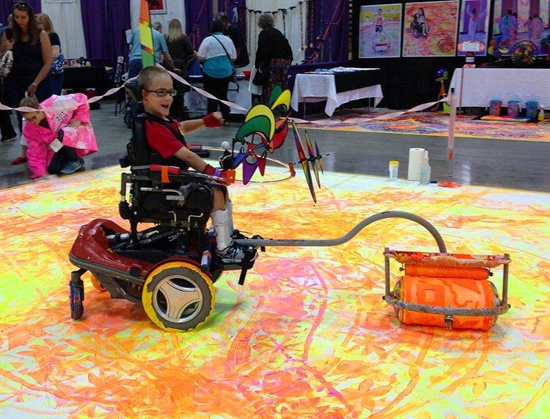 pittura sedia a rotelle