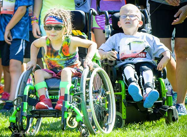 Maratona con bambini disabili